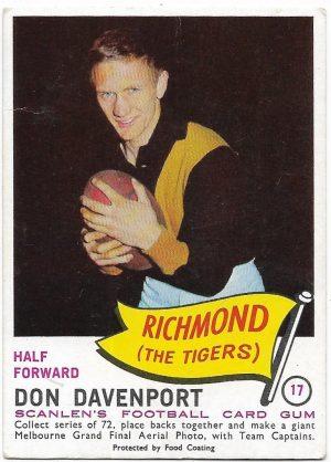 1966 VFL Scanlens (17) Don Davenport Richmond