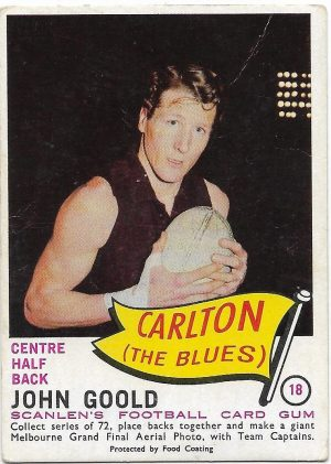 1966 VFL Scanlens (18) John Goold Carlton