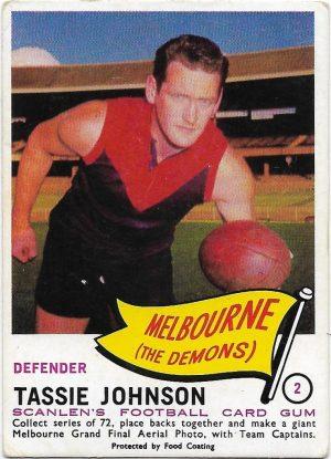1966 VFL Scanlens (2) Tassie Johnson Melbourne