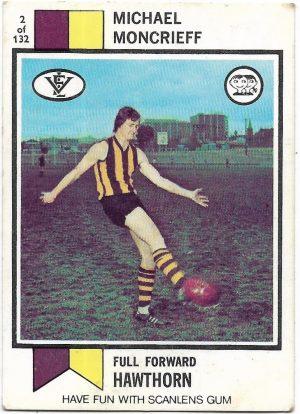 1974 VFL Scanlens (2) Michael Moncrieff Hawthorn