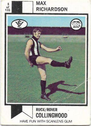1974 VFL Scanlens (5) Max Richardson Collingwood