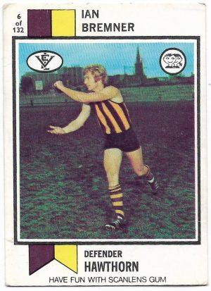 1974 VFL Scanlens (6) Ian Bremner Hawthorn