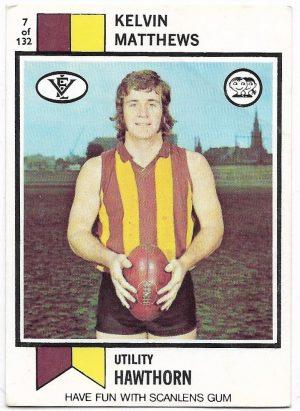 1974 VFL Scanlens (7) Kelvin Matthews Hawthorn