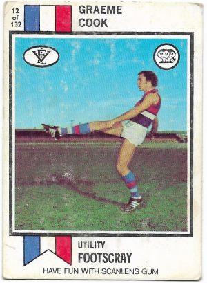 1974 VFL Scanlens (12) Graeme Cook Footscray