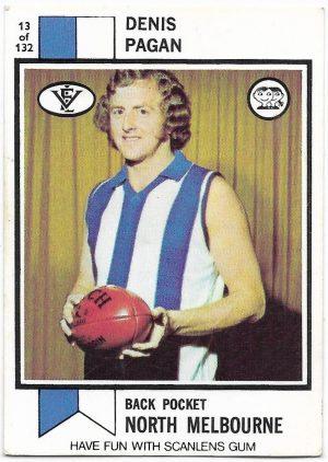 1974 VFL Scanlens (13) Denis Pagan North Melbourne