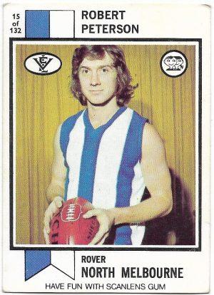 1974 VFL Scanlens (15) Robert Peterson North Melbourne