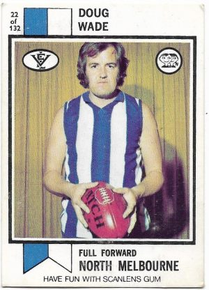 1974 VFL Scanlens (22) Doug Wade North Melbourne