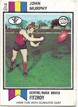 1974 VFL Scanlens (26) John Murphy Fitzroy