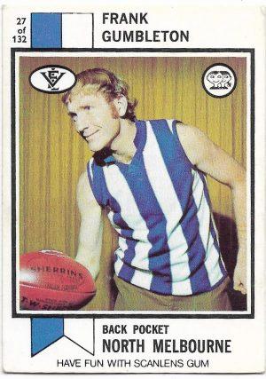 1974 VFL Scanlens (27) Frank Gumbleton North Melbourne
