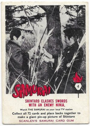 1964 Scanlens Samurai (4) Shintaro Clashes Swords With An Enemy Ninja