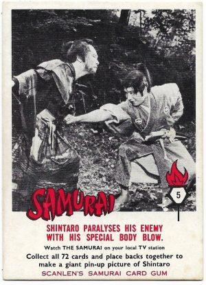 1964 Scanlens Samurai (5) Shintaro Paralyses His Enemy With His Special Body Blow