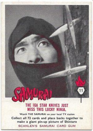 1964 Scanlens Samurai (11) The Iga Star Knives Just Miss This Lucky Ninja