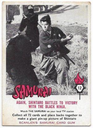 1964 Scanlens Samurai (12) Again, Shintaro Battles To Victory With The Black Ninja