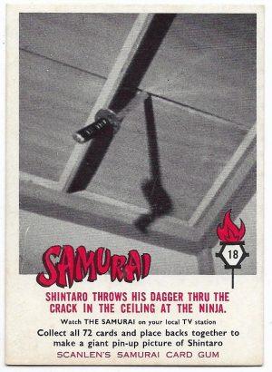 1964 Scanlens Samurai (18) Shintaro Throws His Dagger Thru The Crack In The Ceilin G At The Ninja