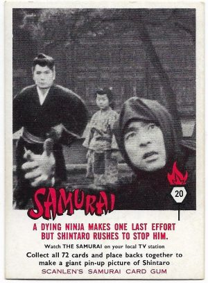 1964 Scanlens Samurai (20) A Dying Ninja Makes One Last Effort But Shintaro Rushes To Stop Him