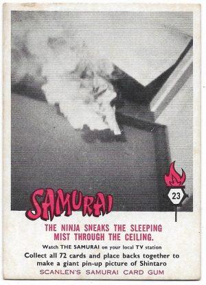 1964 Scanlens Samurai (23) The Ninja Sneaks The Sleeping Mist Through The Ceiling