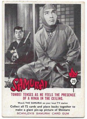 1964 Scanlens Samurai (29) Tombei Tenses As He Feels The Presence Of A Ninja In The Ceiling