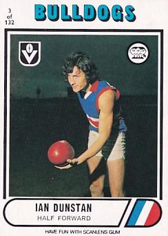 1976 VFL Scanlens (3) Ian DUNSTAN Footscray