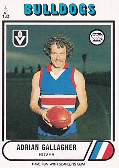 1976 VFL Scanlens (6) Adrian GALLAGHER Footscray