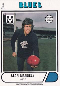 1976 VFL Scanlens (15) Alan MANGELS Carlton