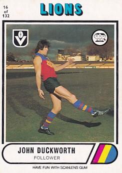 1976 VFL Scanlens (16) John DUCKWORTH Fitzroy