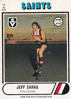 1976 VFL Scanlens (19) Jeff SARAU St Kilda