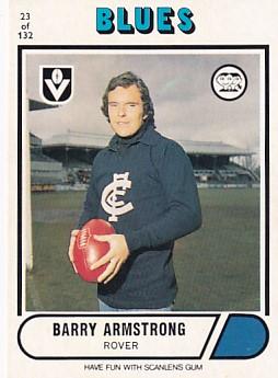 1976 VFL Scanlens (23) Barry ARMSTRONG Carlton