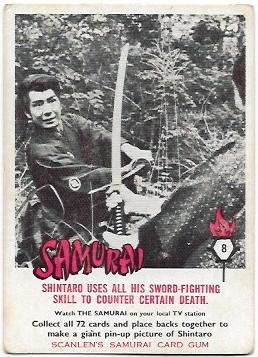 1964 Scanlens Samurai (8) Shintaro Uses All His Sword Fighting Skill To Counter Certain Death
