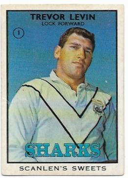 1968 B Scanlens Rugby League (1) Trevor Levin Sharks