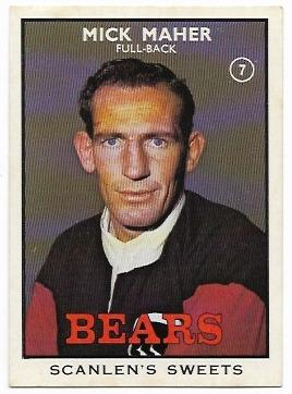 1968 B Scanlens Rugby League (7) Mick Maher Bears
