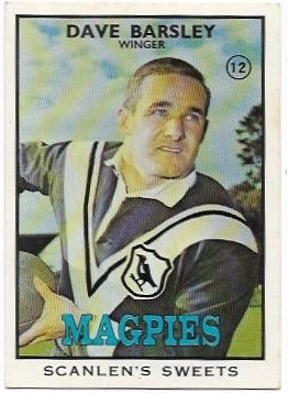 1968 B Scanlens Rugby League (12) Dave Barsley Magpies
