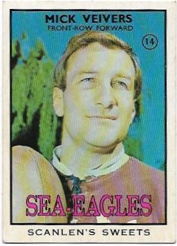 1968 B Scanlens Rugby League (14) Mick Veivers Sea Eagles