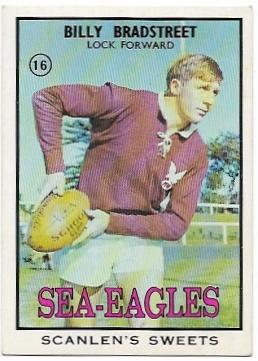 1968 B Scanlens Rugby League (16) Billy Bradstreet Sea Eagles