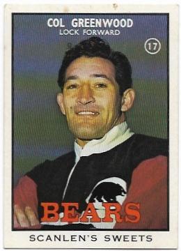 1968 B Scanlens Rugby League (17) Col Greenwood Bears