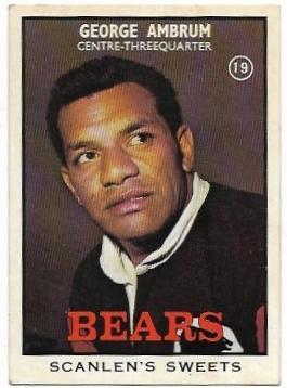 1968 B Scanlens Rugby League (19) George Ambrum Bears