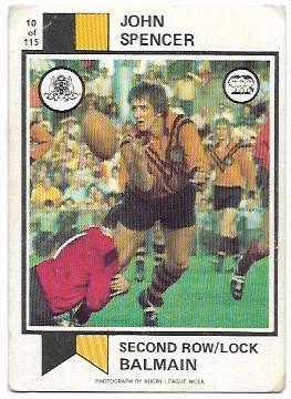 1974 Scanlens Rugby League (10) John Spencer Balmain