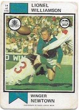 1974 Scanlens Rugby League (14) Lionel Williamson Newton