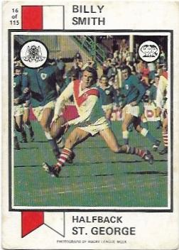 1974 Scanlens Rugby League (16) Billy Smith St. George