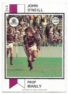 1974 Scanlens Rugby League (20) John O'Neill Manly