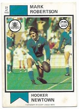 1974 Scanlens Rugby League (23) Mark Robertson Newton