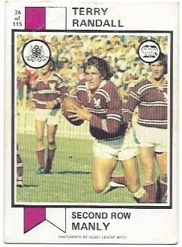 1974 Scanlens Rugby League (26) Terry Randall Manly