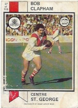 1974 Scanlens Rugby League (27) Bob Clapham St. George