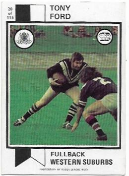 1974 Scanlens Rugby League (28) Tony Ford Western Suburbs