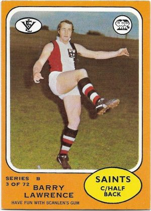 1973 B VFL Scanlens (3) Barry Lawrence St. Kilda