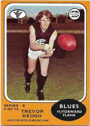 1973 B VFL Scanlens (4) Trevor Keogh Carlton