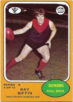 1973 B VFL Scanlens (6) Ray Biffin Melbourne