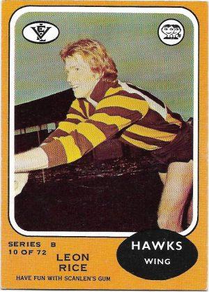 1973 B VFL Scanlens (10) Leon Rice Hawthorn