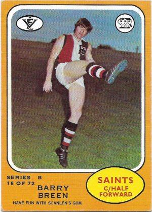1973 B VFL Scanlens (18) Barry Breen St. Kilda