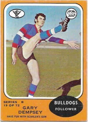 1973 B VFL Scanlens (19) Gary Dempsey Footscray