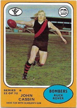 1973 B VFL Scanlens (22) John Cassin Essendon